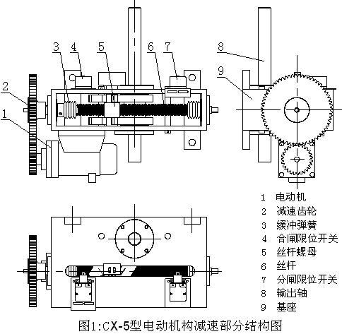 cx-5型电动机操作机构减速部分结构
