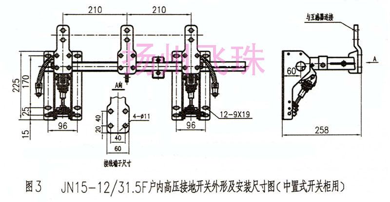 JN15-12/31.5~40、JN15-7.2/20、JN15-40.5/31.5-80型户内高压接地开关(以下简称接地开关)符合GB1985-89《交流高压隔离开关和接地开关》的要求。具有设计先进、技术性能可靠、结构简单、安装调试方便等优点。适用于7.2、12、40.5kV及以下交流50Hz的电力系统中,可与各种型号高压开关柜配套使用,亦可作为高压电器设备检修时接地保护用。 使用环境条件 1、海拔高度不超过2000m; 2、环境温度:最高40,平均值不超过35,最低 -25; 3、相对湿度日平均不大于